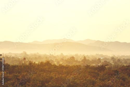 Poster de jardin Desert de sable Mountain view with a fog in the morning.