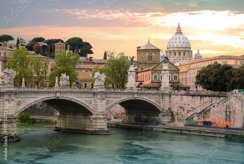 ROME, ITALY - APRIL 8, 2016: St Peter's basilica in Vatican, river Tiber view an Wallpaper Mural