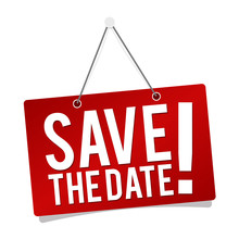 Save The Date - Hanging Door Sign Isolated On White Background.