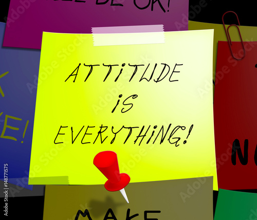 Attitude Is Everything Displays Happy Positive 3d Illustration Tablou Canvas