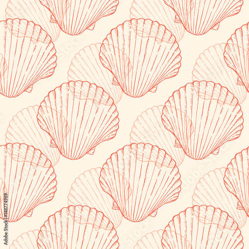 Seamless pattern with sea shells Tableau sur Toile
