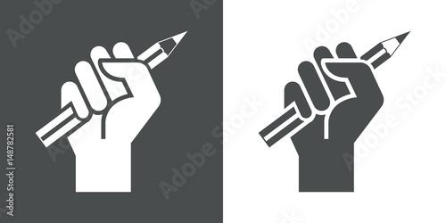 Fényképezés Icono plano mano con lapiz gris y blanco
