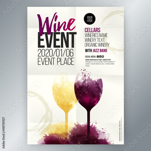 Template for invitations, promotions and wine events © Ografica