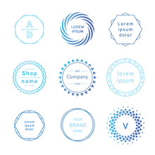 Set Of Blue Badges And Label Logo Graphics. Design Elements, Business Signs, Labels, Logos, Circle Design. Vector Illustration