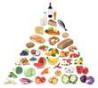 Leinwanddruck Bild - Gesunde Ernährung Ernährungspyramide Essen Obst und Gemüse Früchte Freisteller