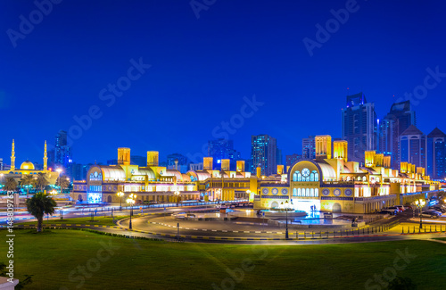 Night view of the central Souq in Sharjah, UAE - Buy this