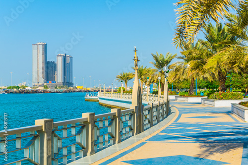 Tuinposter Abu Dhabi View of the corniche - promenade in Abu Dhabi, UAE