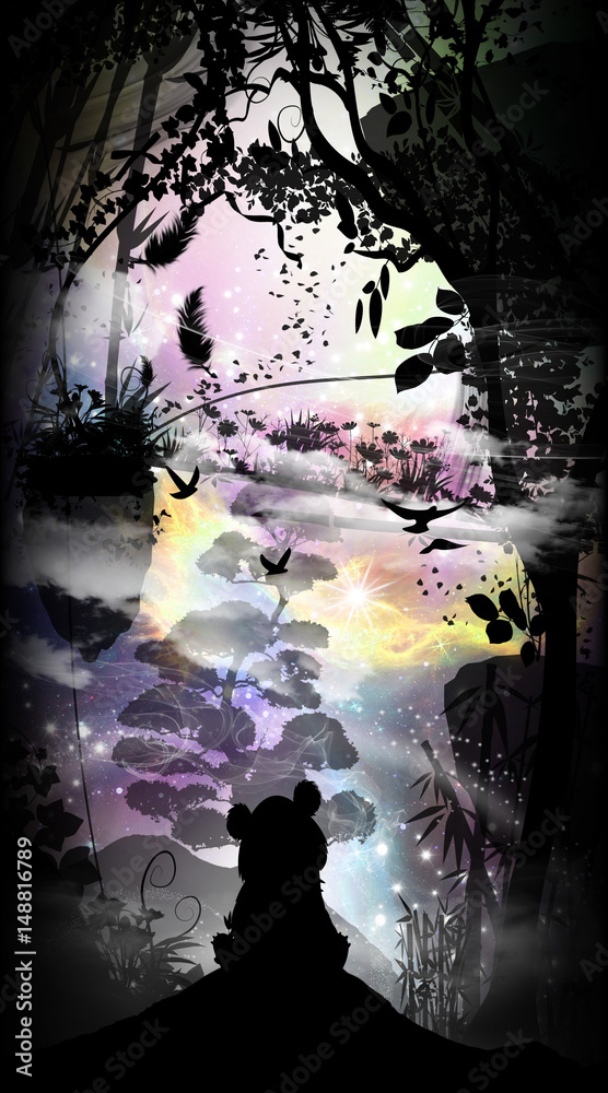 Lonely baby panda silhouette art photo manipulation