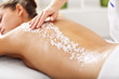 canvas print picture - Beautiful woman having exfoliation treatment in spa