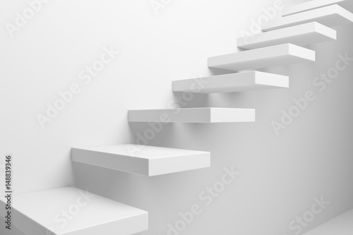 Photo White ascending stairs closeup view