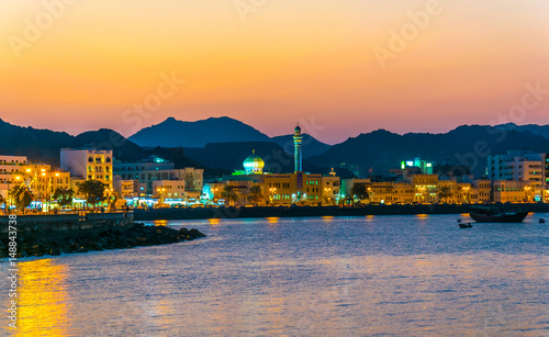 Fényképezés View of coastline of Muttrah district of Muscat during sunset, Oman