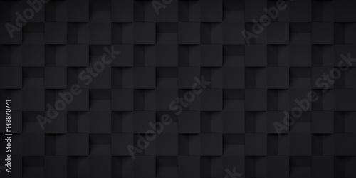 Zdjęcie XXL Tomowa realistyczna tekstura, sześcianów kroki, czarny 3d geometryczny wzór, projekta wektorowy ciemny tło