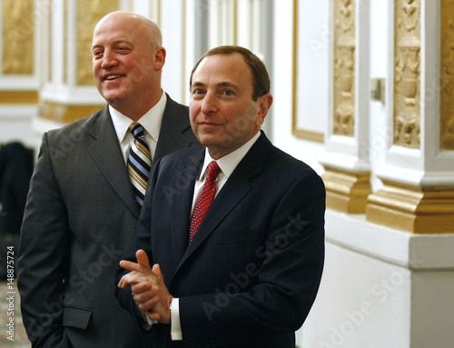 National Hockey League Commissioner Gary Bettman R And Deputy