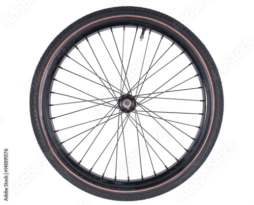 Tuinposter Fiets bicycle wheel set isolated on white background