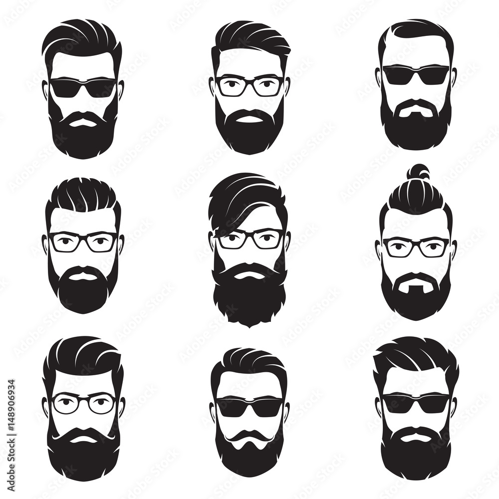 Fototapeta Set of vector bearded men faces hipsters