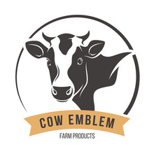 Cow Head Silhouette Emblem Lab...