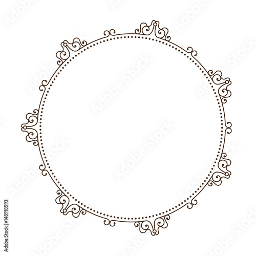 Obraz decorative vintage frame in circle shape icon over white background. vector illustration - fototapety do salonu
