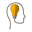head with bulb light icon over white background. colorful design. vector illustration