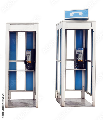 Fotografie, Obraz  Two isolated vintage outdoor phone booths.