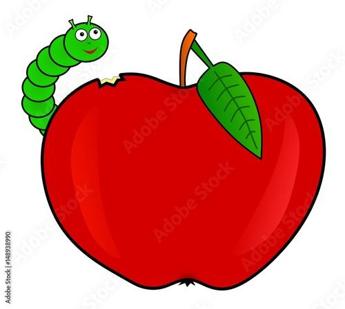 Robak zjada czerwone jablko