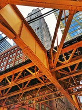Chicago Train Tracks And Skyline