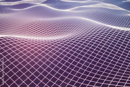 Poster Crimson Pink grid waves