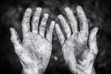Schmutzige Bettelnde Hände