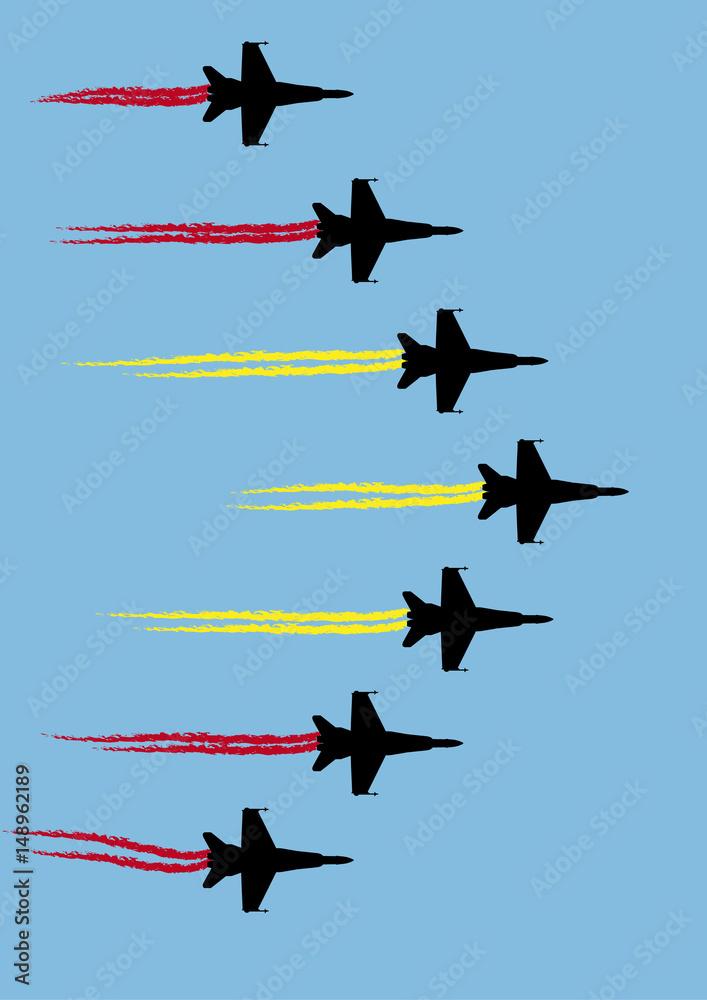 Fotografija  Patrulla aérea acrobática con bandera de España