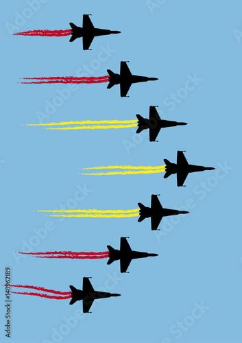 Fényképezés  Patrulla aérea acrobática con bandera de España