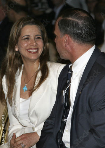 Jordan's Princess Haya Bint al-Hussein speaks to her brother