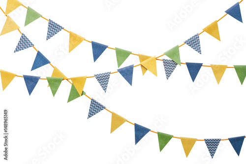 Fotografia  Bunting party flags made from scrapbook paper isolated on white background