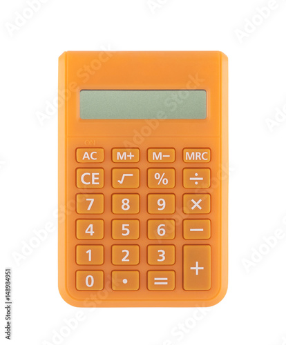 Orange calculator isolated on white with clipping path  - 148984951