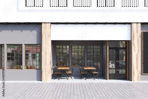 Fotografie, Obraz  Gray cafe exterior