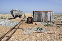 Abandoned Boat, Hut And Rail Tracks In Dungeness, Kent UK.