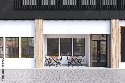 Fotografie, Obraz  White cafe exterior