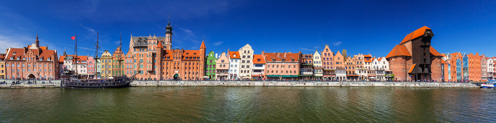 Fototapeta Panorama of the old town of Gdansk at Motlawa river, Poland