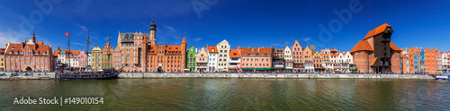 obraz lub plakat Panorama of the old town of Gdansk at Motlawa river, Poland