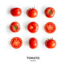 Seamless Pattern With Tomatoes. Tropical Abstract Background. Tomato On White Background.