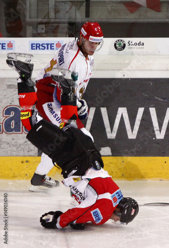 Russias Oleg Saprykin Checks Austrias Andreas Kristler During A