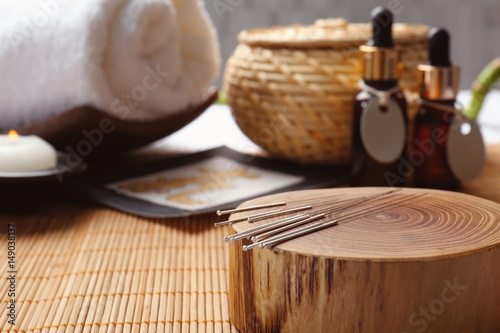 Photo Composition with acupuncture needles on bamboo mat