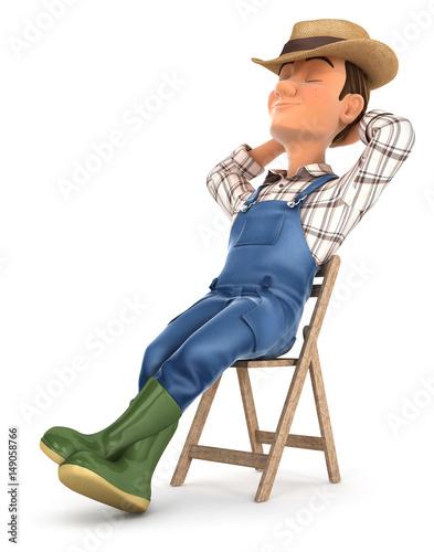 Photo  3d farmer sleeping on chair
