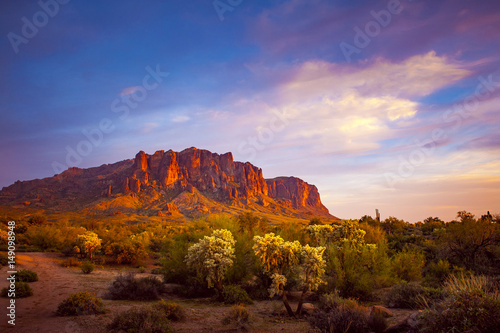 Photo Stands Arizona Superstition mountain sunset