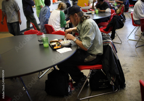 Charlie Edwards Eats His Meal At The Urban Ministry Soup