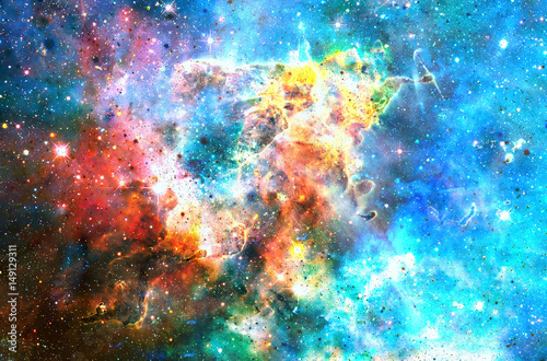 Poster Artificiel Cosmic space and stars, color cosmic abstract background.