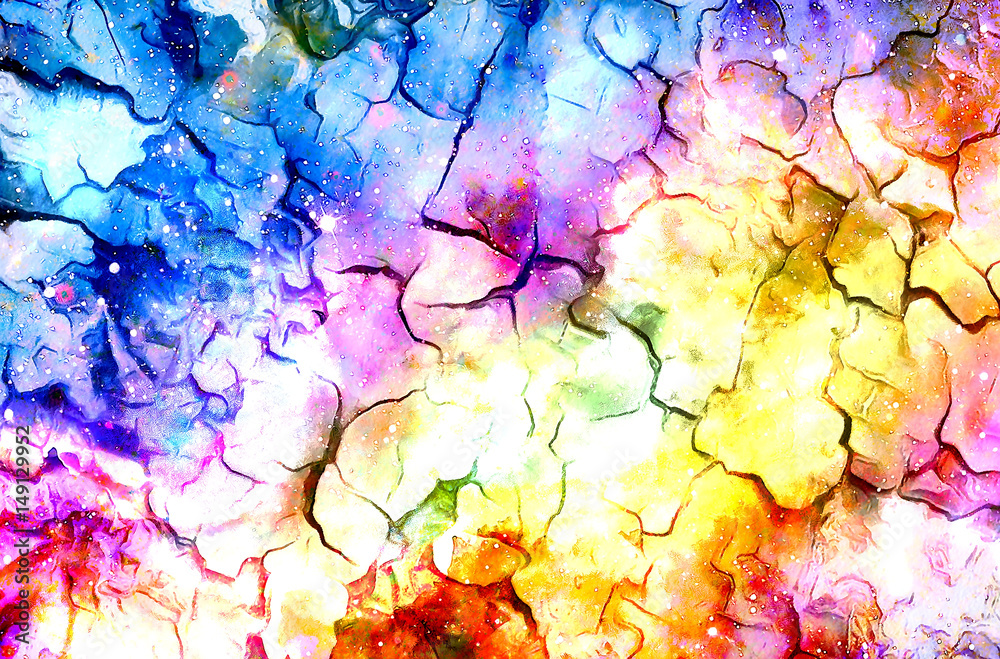 Fototapety, obrazy: Cosmic space and stars, color cosmic abstract background. Crackle effect.