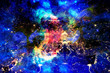 Cosmic space and Earth city night lights, color cosmic abstract background.