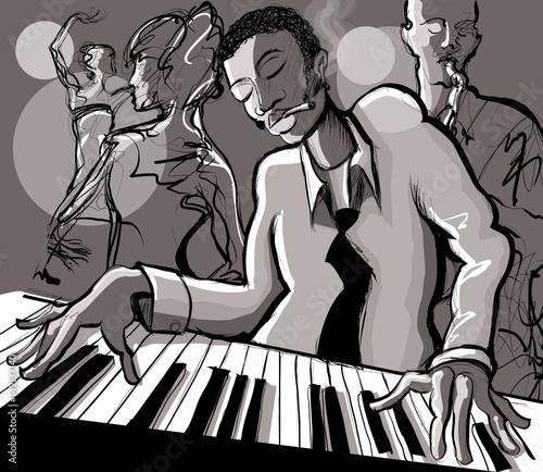 Cadres-photo bureau Art Studio Piano jazz, singer and saxophonist