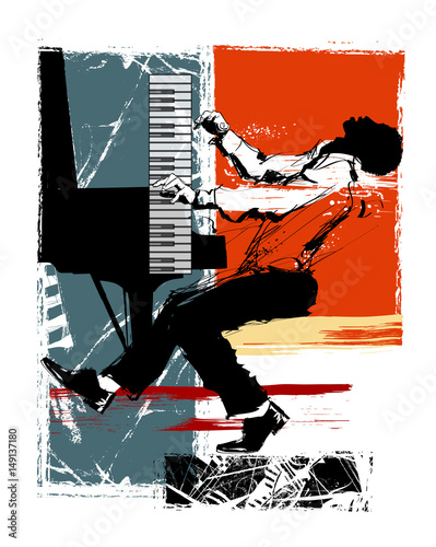 Tuinposter Art Studio Jazz pianist on a grunge background