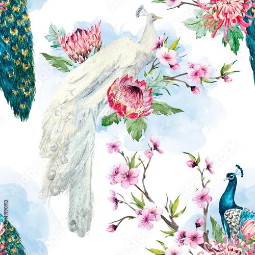 akwarela-wzor-pawia-i-kwiatow