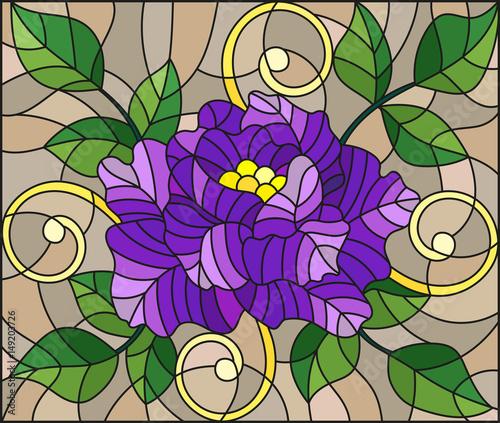ilustracja-w-stylu-witrazu-z-streszczenie-fioletowy-kwiat-paki-i-liscie-rozy